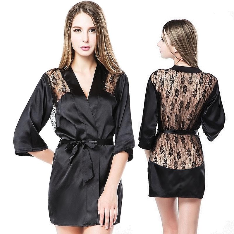 Перспектива атласа женское белье Сексуальные дамы Халат пижамы ночная рубашка Ночная сорочка с ремешком и пояса три куска 8600
