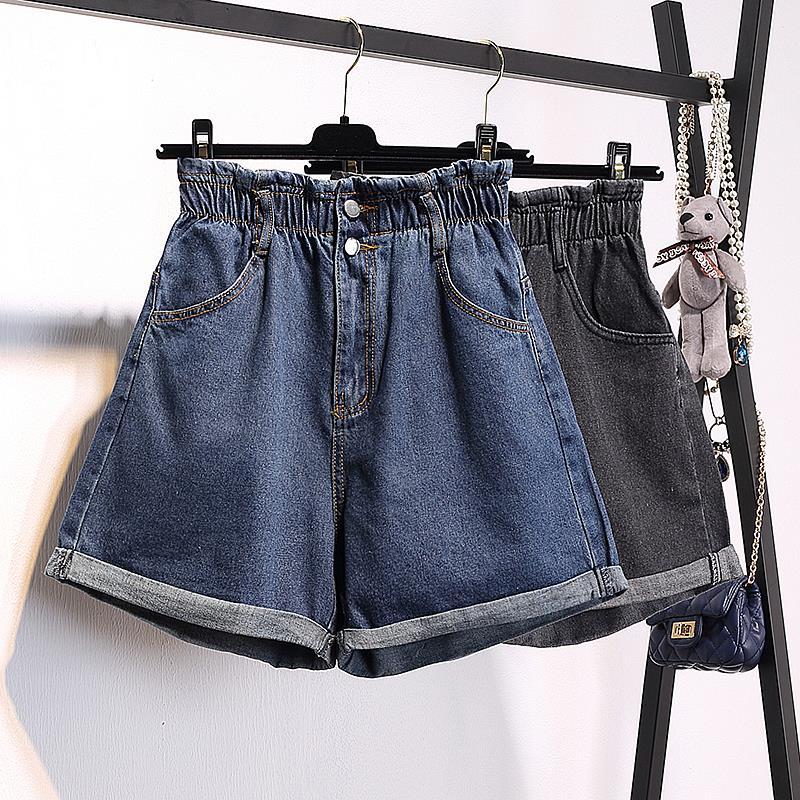 大码高腰牛仔短裤女春夏阔腿胖mm200斤韩版宽松加肥加大显瘦热裤