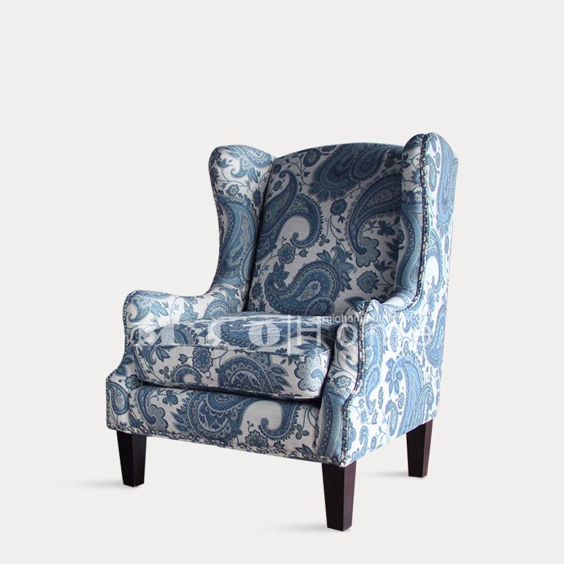 美式沙发单人布艺沙发欧式单人小沙发特色青花瓷印花住宅家具沙发