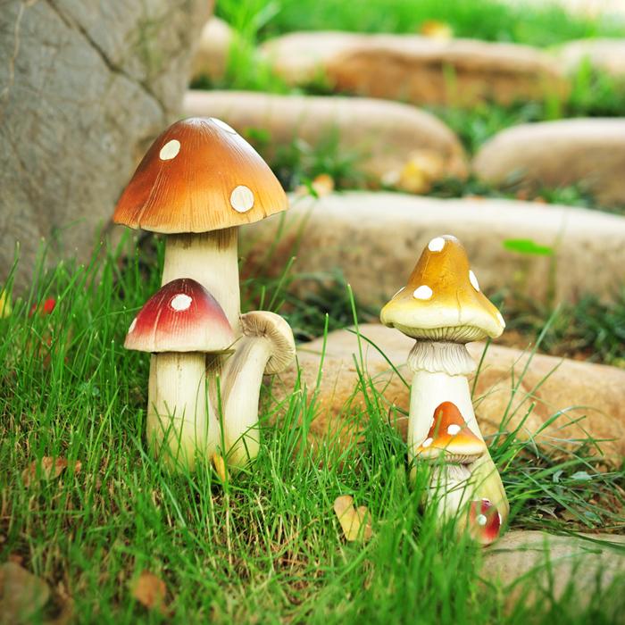 大傅花園別墅 裝飾品仿真蘑菇裝飾品 田園家居樹脂蘑菇 擺件