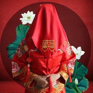 中式新娘结婚红色红盖头喜盖头纱喜帕蒙头巾婚庆中式喜庆流苏纱巾