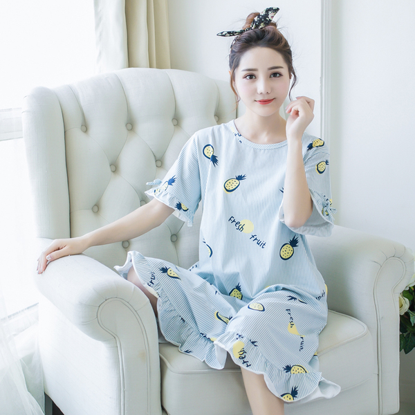 Lingerie female summer cotton pajamas cute summer Korean loose big yards pregnant princess skirt short-sleeved tracksuit thin