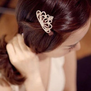 Cool na Crown bow rhinestone hair accessories Korean temperament heart hair clips side clips hair card women 6183