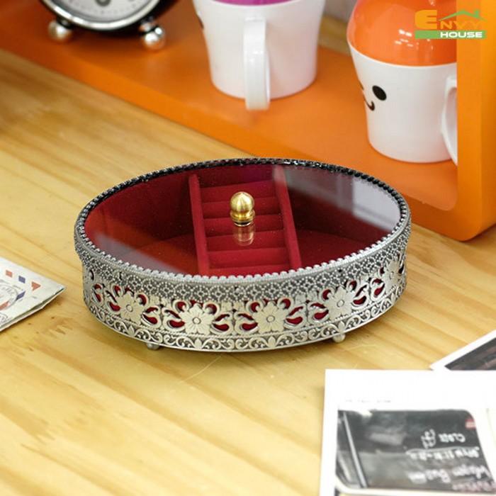 韩国进口正品高档锡圆形首饰盒化妆盒时尚饰品盒流行首饰盒珠宝盒