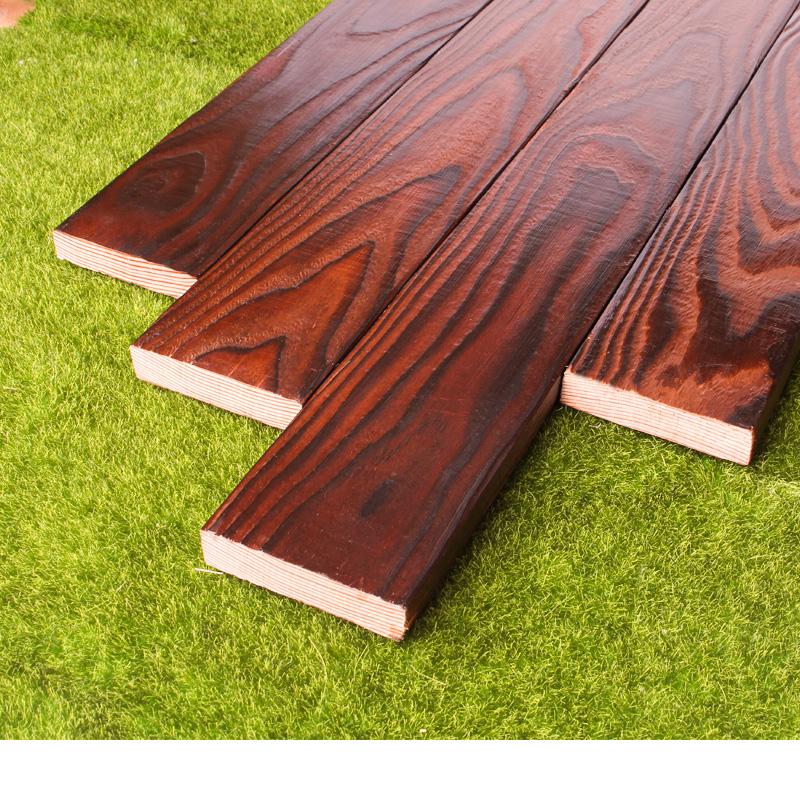 服创 碳化木板防腐木地板户外露台庭院阳台花园栅栏护墙实木木方