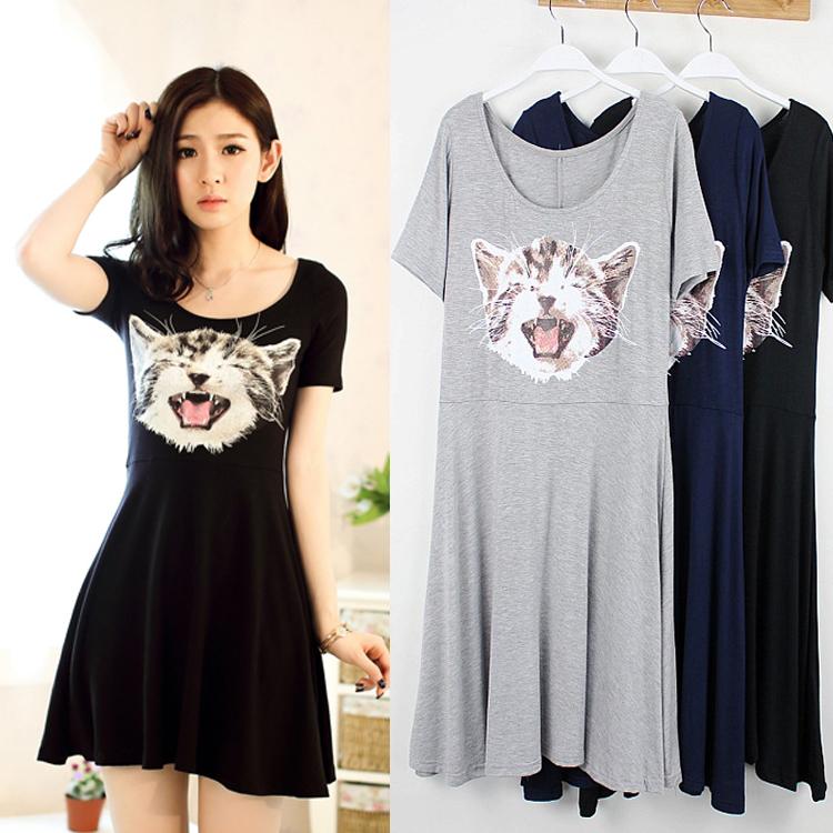 夏季新款女装韩版莫代尔中长款大伞摆连衣裙短袖收腰背心打底裙猫