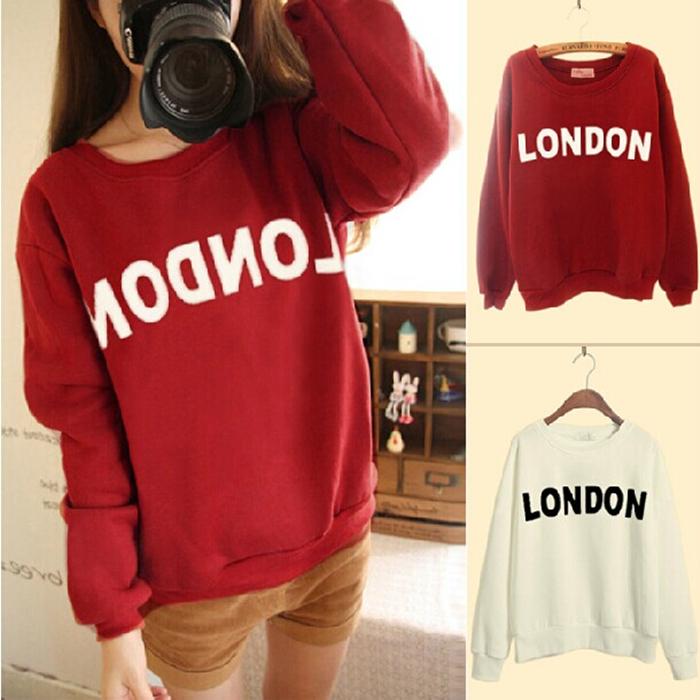 Южной Кореи сестры положить письма осенью и зимой и тонкие длинные свободные свитер женщин пары букв печатных футболку бум