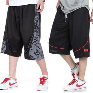 夏季薄款篮球裤加肥加大码运动中裤男士透气宽松短裤五分裤大裤衩
