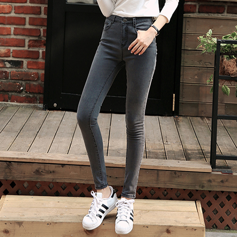 Autumn Korean skinny smoky grey high waist jeans womens Capris Black Slim pencil pants
