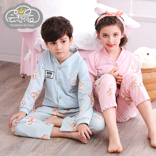 Spring and autumn new cartoon children long-sleeved cotton pajamas big boy baby boys girls suits tracksuit