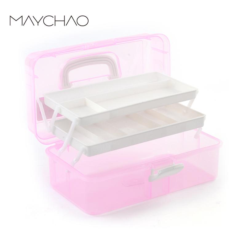 美潮美甲工具箱加厚抗摔美容箱大號三層化妝品收納整理箱美甲用品
