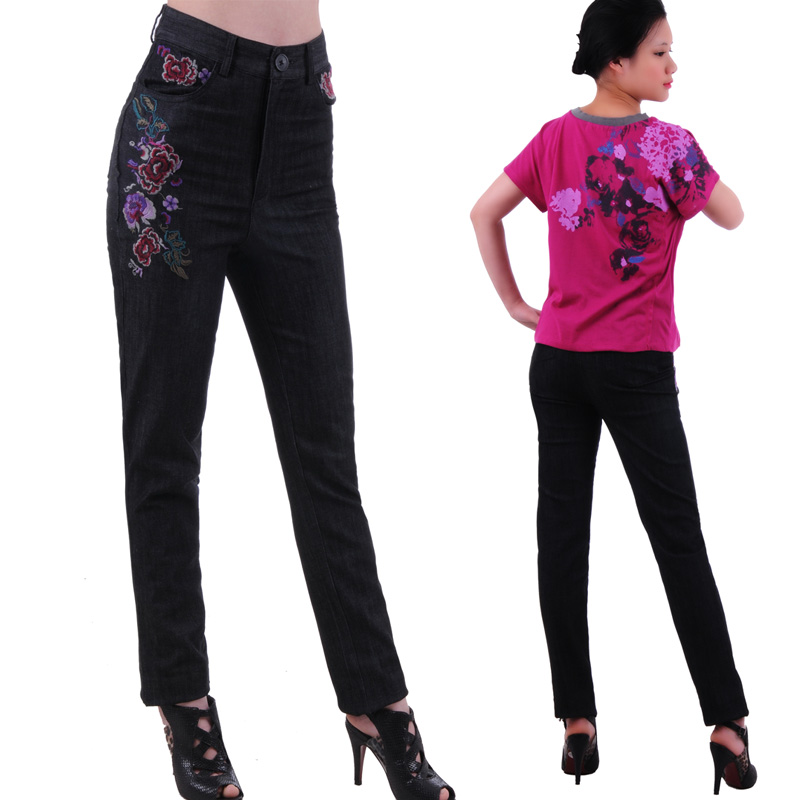 Special price new high-end national style embroidery large size high waist slim feet jeans pencil pants women