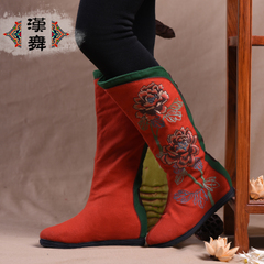 Tube thickened in the Chinese dance casual winter boots warm cotton boots national wind women's boots with embroidery Peony