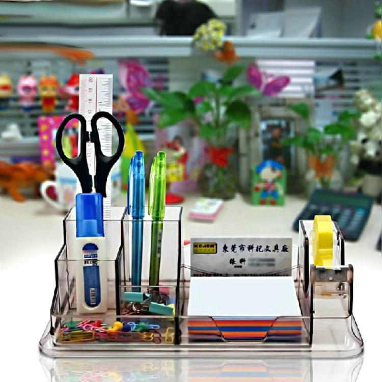 包邮多功能笔筒创意时尚 学生个性亚克力透明办公笔座收纳盒