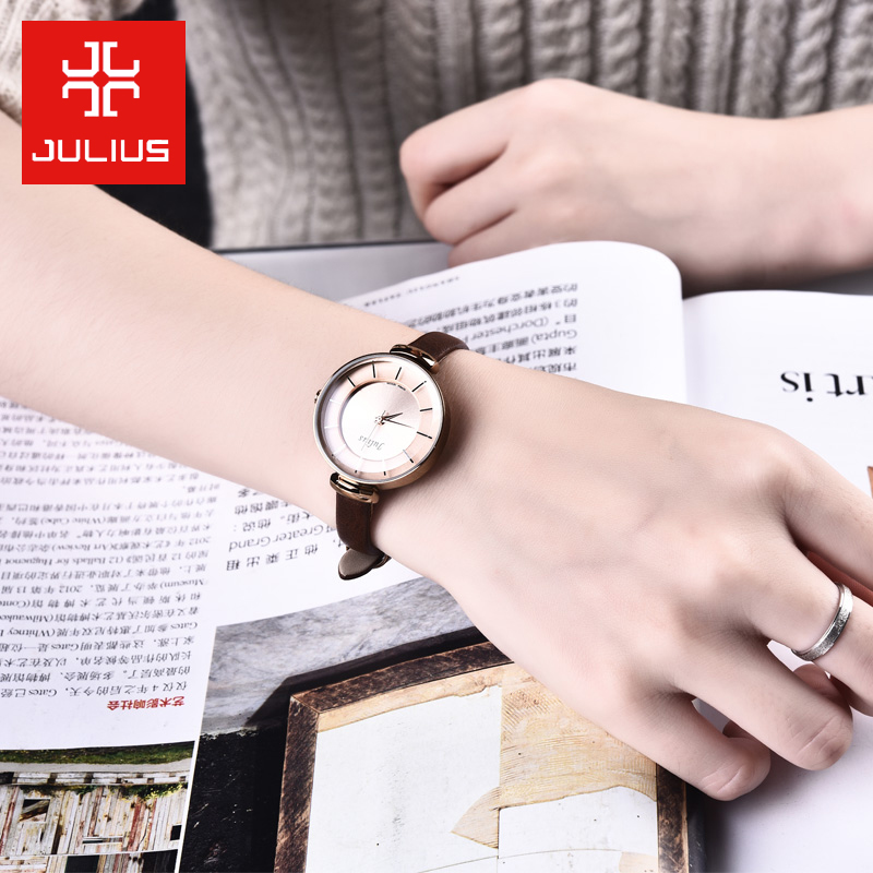 聚利時女表 潮流簡約正品學生真皮帶女生手表防水石英表