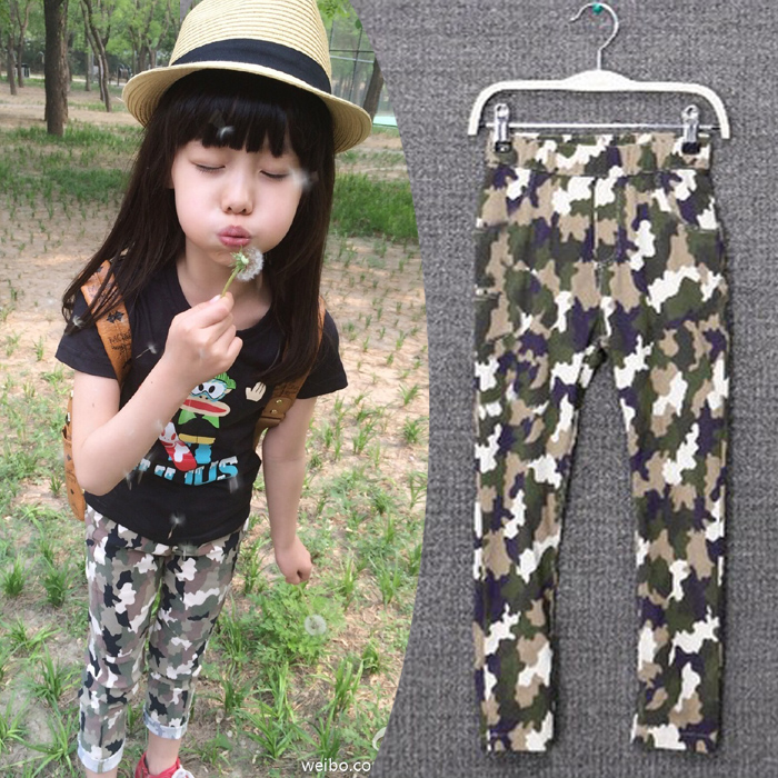wood Child Benefit From summer and autumn new tiger mother cats and Louise with Mrs Ure, discipline and colorful with girls trousers camouflage stretch pencil pants