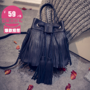 Lake baodan women shoulder bag cool flashes of fire School of Japanese and Korean simple fashion Crossbody wind-woven mini tassel bag