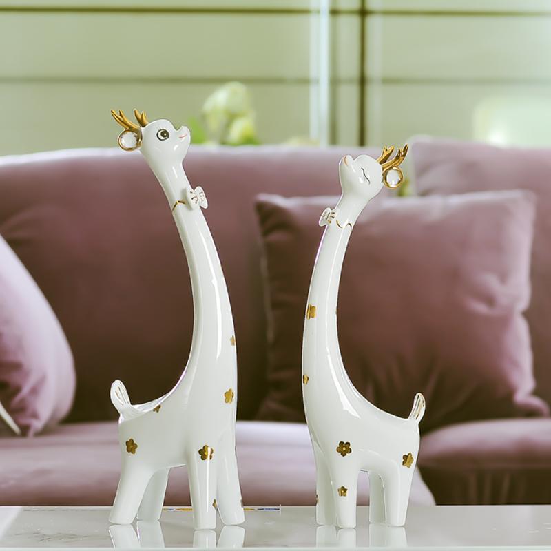 歐式家居家裝飾品客廳電視櫃 陶瓷小擺件工藝品長頸鹿擺設