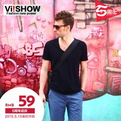 Viishow summer styles short sleeve t-shirt men's trends men's slim v neck short sleeves t-shirt cotton