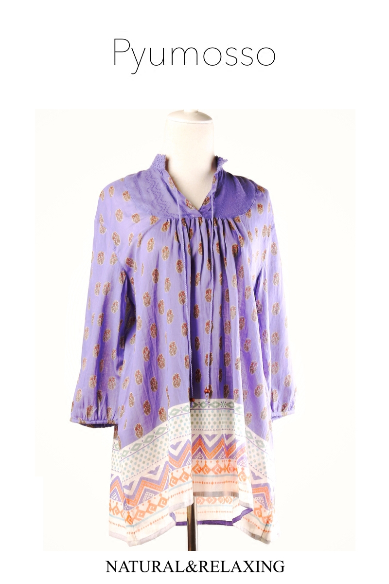 Womens Bohemian national style top spring and summer beautiful yarn Indian cotton medium length loose breathable cotton shirt