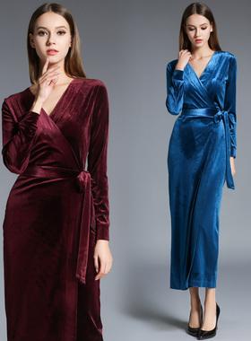 3767--实拍欧美秋冬新款V领长袖修身显瘦 丝绒裹身裙中长款礼服裙