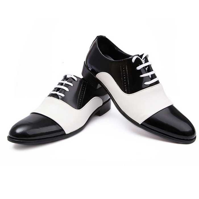 Free mail mens British European business casual leather shoes 3-piece black and white splicing Korean fashion formal mens shoes