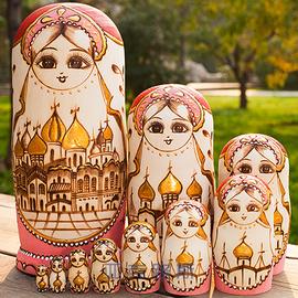 亚克路斯手绘商务礼品生日礼物包邮椴木品牌俄罗斯套娃10层1068