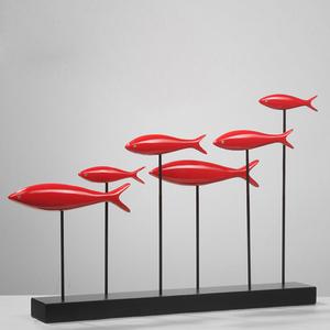 群鱼摆件工艺品 创意现代简约家居客厅玄关电视柜装饰品摆件摆饰