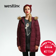 Westlink/West 2015 winter long padded coat in a new pure color simple hooded lightweight women's coat