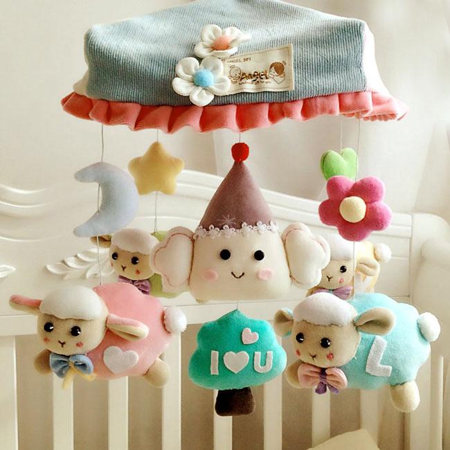 韩国angel婴儿手工diy床铃羊宝宝旋转音乐毛绒床挂转铃玩具材料包