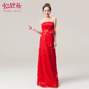 Red lace wedding dress fashion winter long section of the bride toast clothing evening dress 2015 new banquet