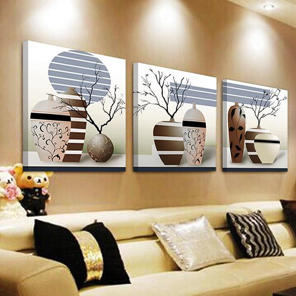 裝飾畫客廳無框畫簡約三聯臥室掛畫沙發背景牆壁畫歐式花瓶