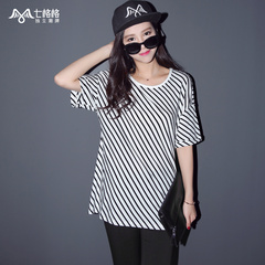 Summer of seven space space OTHERMIX2015 new black and white striped prints loose t shirt women