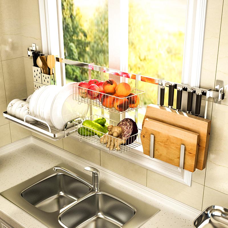 Кухня посуда дренажный полка 304 нержавеющей стали стеллажи стена на настенный стойка хранение полка инструмент вкус стойка