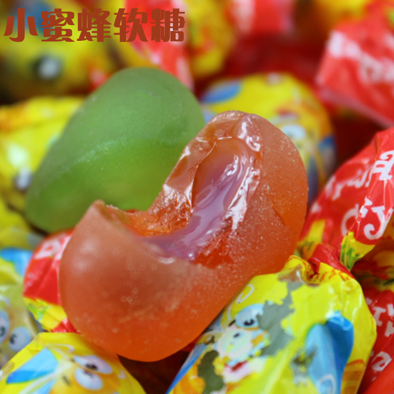 2000 g Russian candy Rusheng honey bee soft candy fruit juice sandwich fruit candy imported Zero food