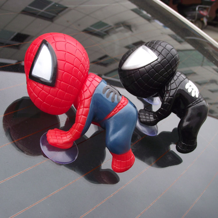 包邮 汽车摆件可爱公仔吸盘蜘蛛侠车载装饰卡通玩偶车内饰品