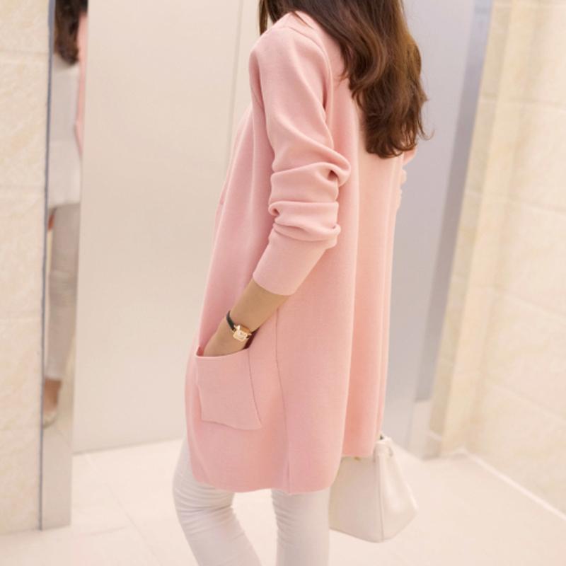 早春装新款女装2018韩版宽松中长款开衫针织衫秋季毛衣外套长袖