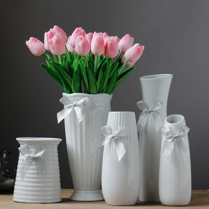 家居裝飾品陶瓷花瓶客廳餐桌擺件 簡約風格宜家純白花器花插