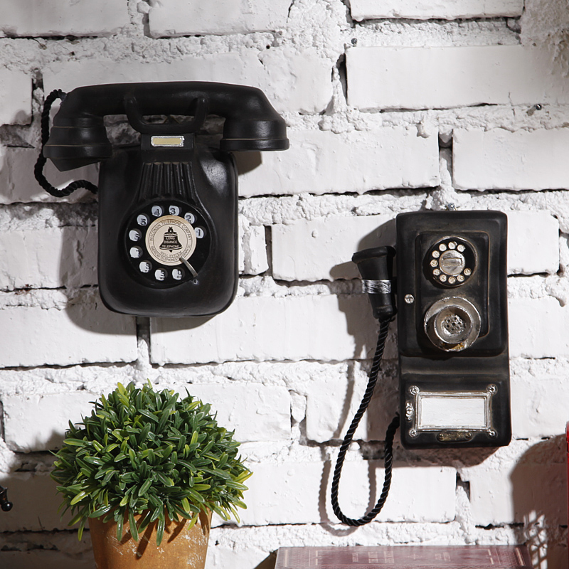 美式 家居牆麵壁掛複古樹脂電話機壁飾奶茶店咖啡廳做舊裝飾品