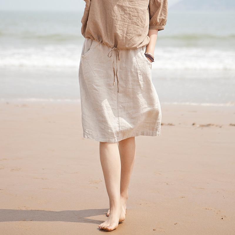 夏季新款女装亚麻文艺休闲半身裙中长款棉麻料中裙子一步裙a字裙