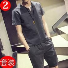 男士棉麻短袖短裤休闲套装