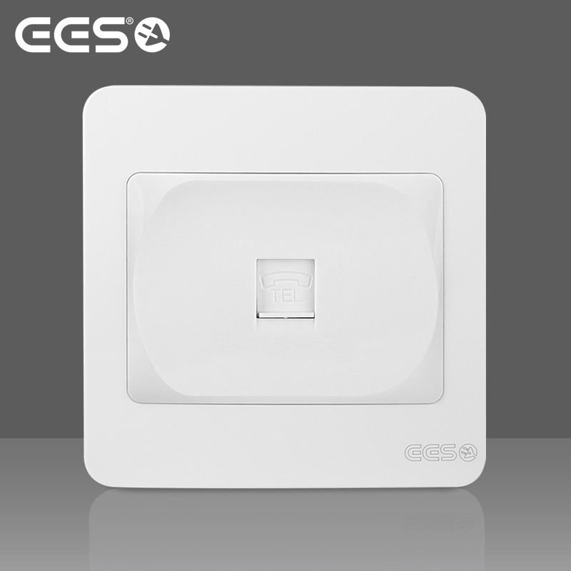EES electrical switch socket panel keyidee sardine series elegant white one digit telephone switch