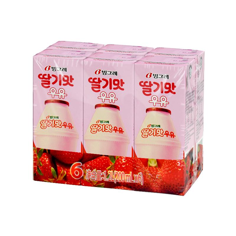 ~天貓超市~韓國 賓格瑞草莓味牛奶飲料 200ml^~6 香滑口感