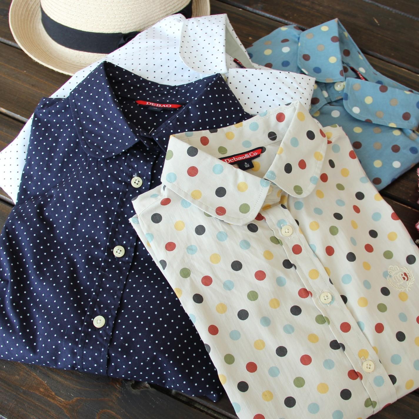 4780 новые 2015 падения девушки японские Sen свежие волна точка печати хлопок рубашки с длинным рукавом