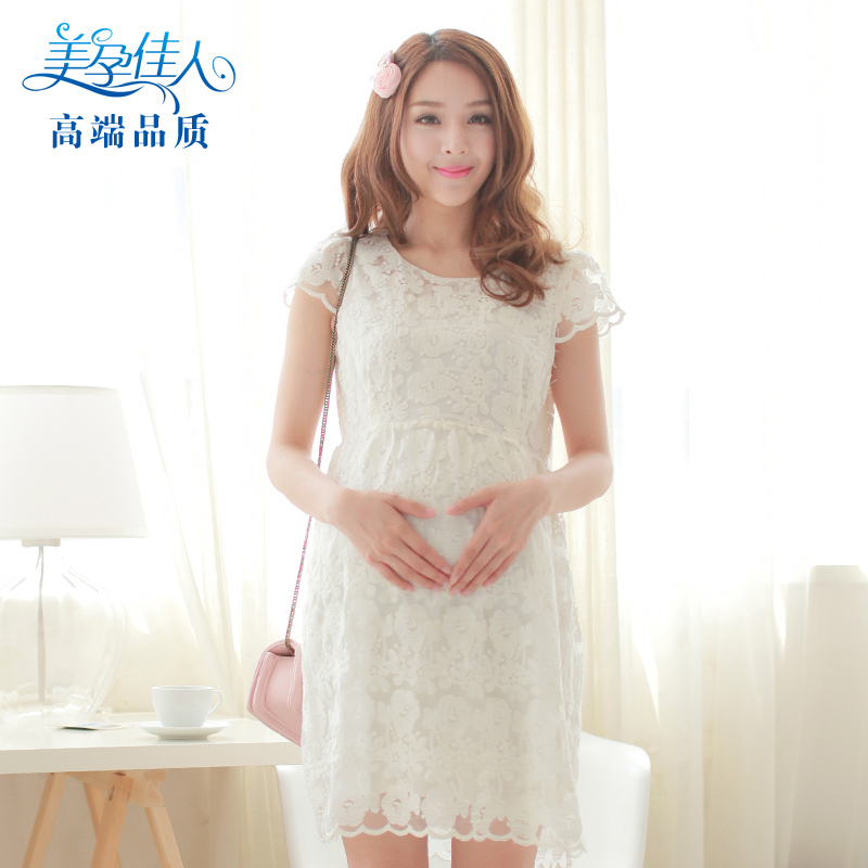Pregnant womens summer dress Korean fashion pregnant womens lace pregnant womens dress summer pregnant womens skirt short sleeve pregnant womens top