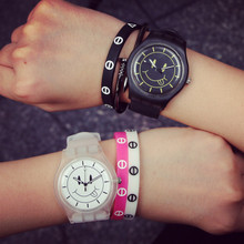 Han edition small pure and fresh and harajuku silicone couple watches Men and women table fashion transparent jelly female table middle school students