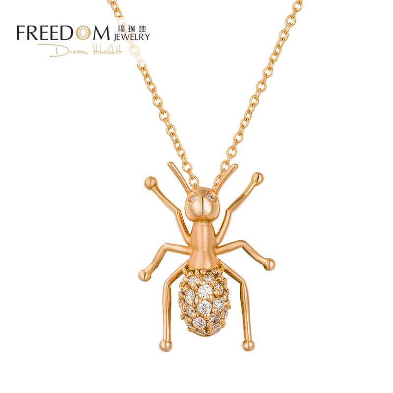 Furuidi womens fashion Korean jewelry 18K gold necklace ant Diamond Pendant Necklace clavicle chain