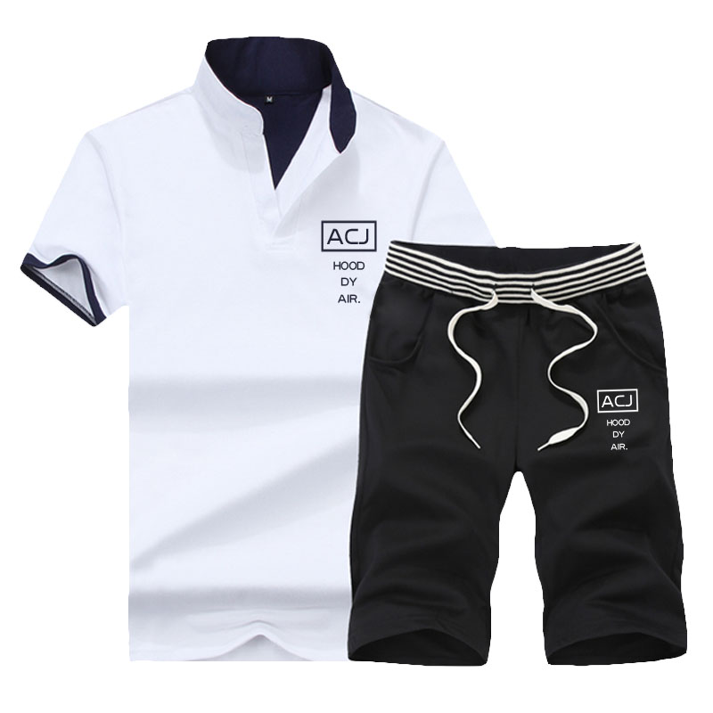 运动套装男 短袖T恤男士夏装韩版潮流2018夏季新款休闲衣服男装