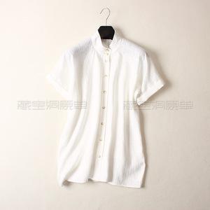 清仓春夏装新宽松欧美范女款小立领纯亚麻短袖中长款衬衫白色