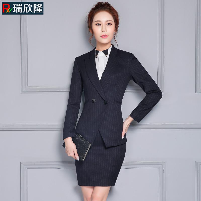 春秋季新款时尚气质修身条纹小西服两件套女韩版西装职业套装潮